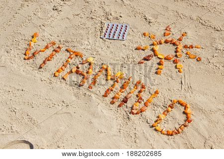 Medical Pills, Inscription Vitamin D And Shape Of Sun At Beach, Concept Of Summer Time And Healthy L