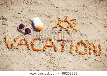 Word Vacation And Shape Of Sun, Accessories For Sunbathing At Beach, Concept Of Summer Time