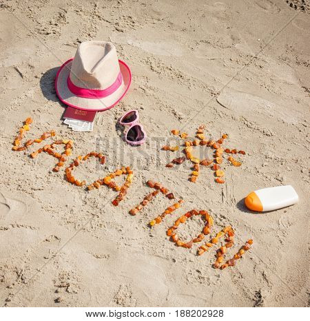 Word Vacation, Accessories For Sunbathing And Passport With Currencies Dollar, Concept Of Summer Tim