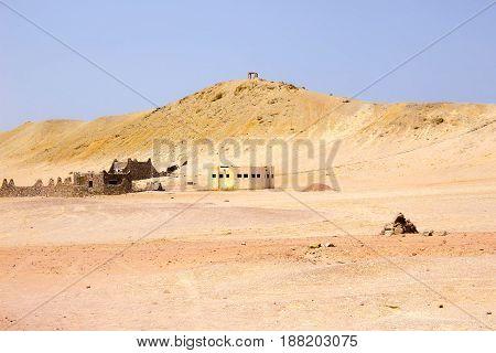 The mud brick houses at Ras Muhammad National Park at Egypt