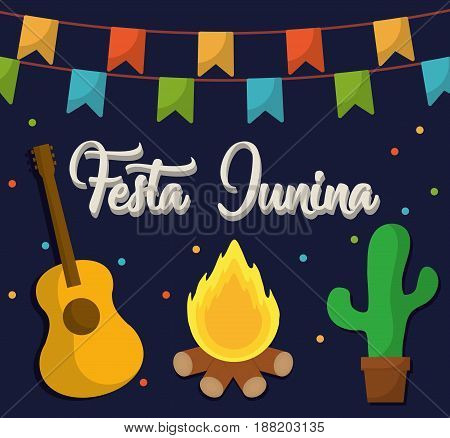 festa junina card with related icons over blue background. colorful design. vector illustration