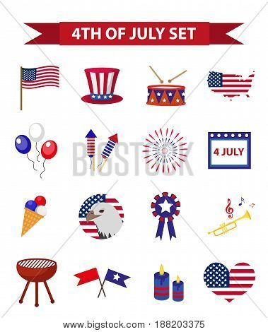 Set of patriotic icons Independence Day of America. July 4th collection of design elements, isolated on white background. Vector illustration, clip-art