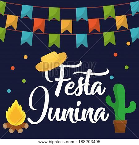 festa junina card with related icons around  over blue background. colorful design. vector illustration