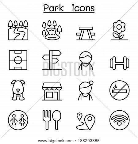 Park public park national park garden icon set in thin line style