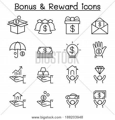 Bonus & Reward icon set in thin line style
