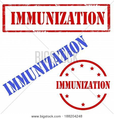 Set of stamps with text Immunization,vector illustration