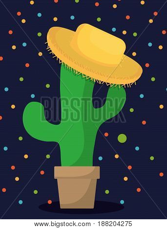 cactus in a pot with a hat over blue background. colorful design. festa junina concept. vector illustration