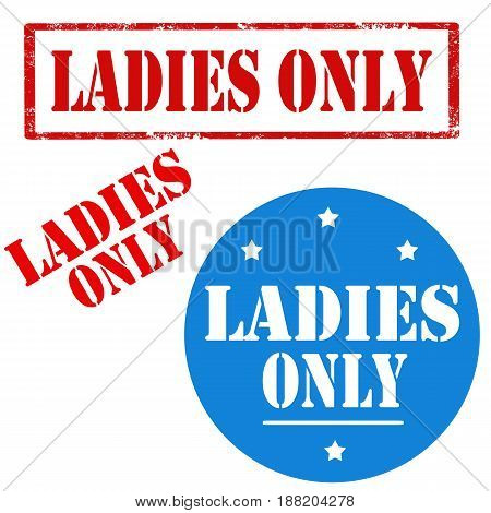 Set of stamps with text Ladies Only,vector illustration