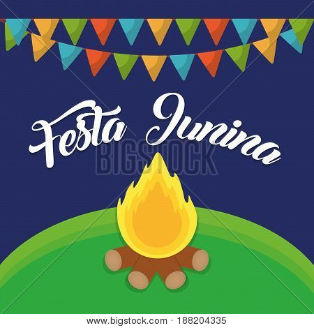 festa junina card with decorative pennants and bonfire icon  over blue background. colorful design. vector illustration