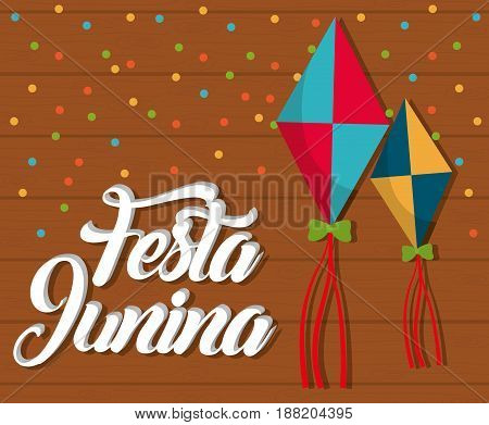 festa junina card with kites icon  over brown background. colorful design. vector illustration