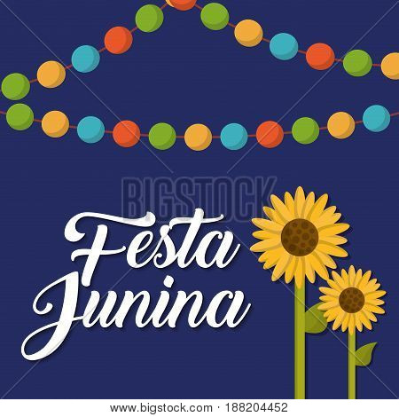 festa junina card with sunflowers icon  over blue background. colorful design. vector illustration
