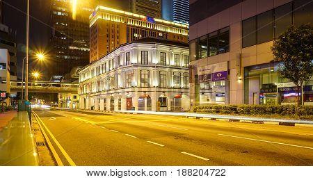 Chinatown At Night In Singapore