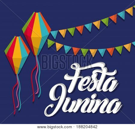 festa junina card with decorative pennants and balloons over blue background. colorful design. vector illustration