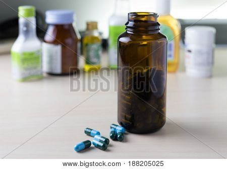 Bottle Of Medicine Supplements And Drugs Healthy