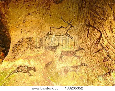 Discovery Of Prehistoric Paint Of Caveman Hunt In Sandstone Cave. Paint Of Human Hunting