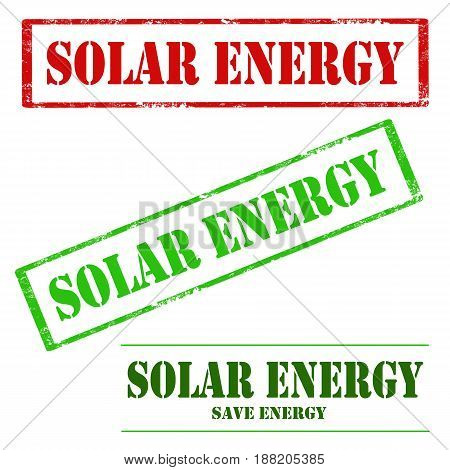 Set of stamps with text Solar Energy,vector illustration