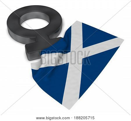 female symbol and flag of scotland - 3d rendering