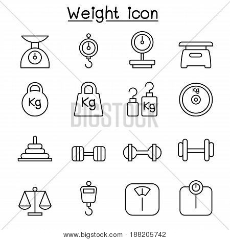 Weight scale balance icon set in thin line style