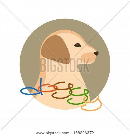 dog puppy head vector illustration style Flat