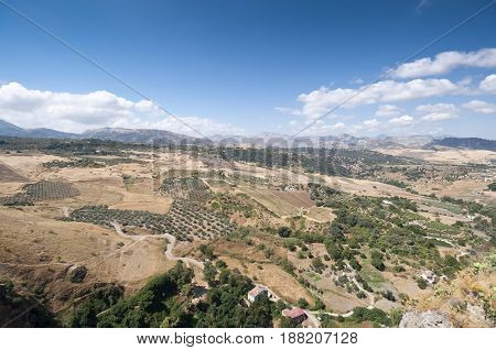 Views of Andalusian countryside from Ronda town, Malaga, Spain