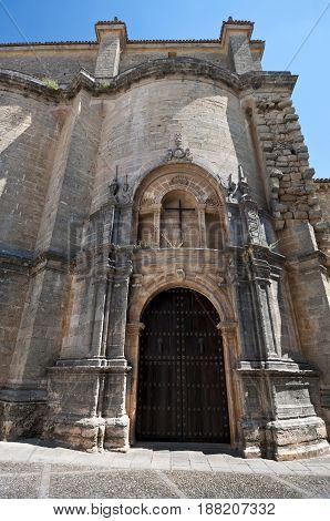 Gate of Santa Maria la Mayor Church, Ronda, Malaga Andalusia, Spain