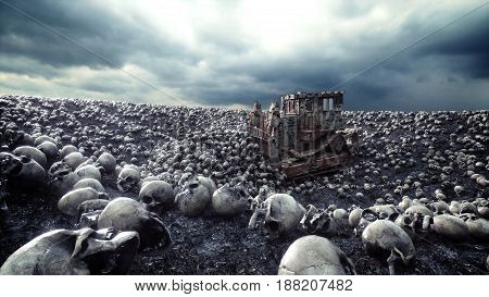 Old bulldozer and pile of skulls. Apocalypse and hell concept. 3d rendering