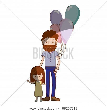 father with his daughter and balloons, vector illustration