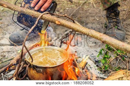 Groats are very tasty if you cook it in nature here in such a metal kettle