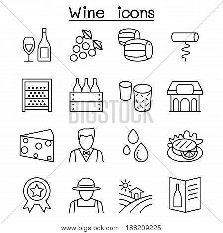 Wine icon set in thin line style