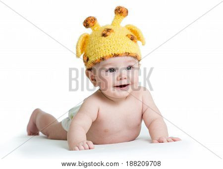 infant baby boy weared giraffe hat, isolated on white