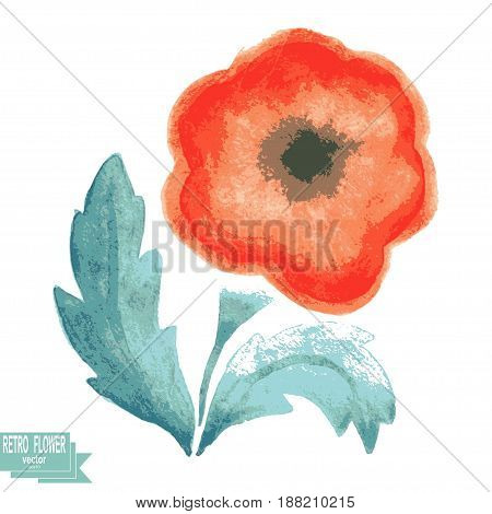 Retro watercolor flower on a white background. Vector illustration. The original sample of floral design