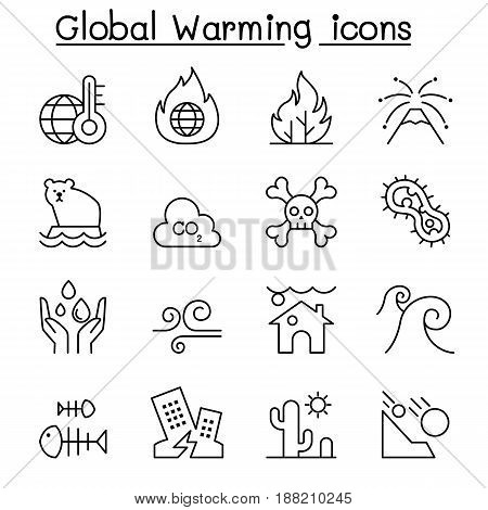 Global warming Disaster catastrophe icon set in thin line style