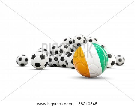 Football With Flag Of Cote D Ivoire Isolated On White