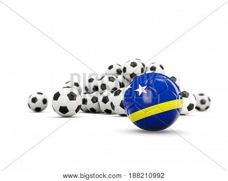 Football With Flag Of Curacao Isolated On White