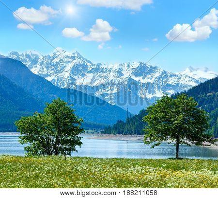 Sunshiny Reschensee Summer Landscape (austria).