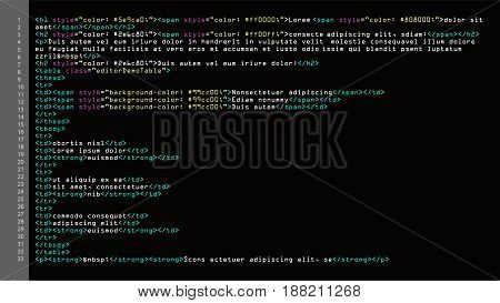 HTML Simple Code Vector. Colorful Abstract Program Tags In Developer View. Screen Of Colored Lighted Syntax Of Source Code