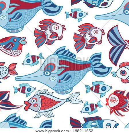 Doodle kids fish seamless vector pattern. Repeated underwater texture with cartoon marine characters for children
