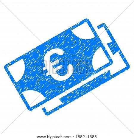 Grunge Euro Banknotes icon with grunge design and scratched texture. Unclean vector blue pictogram for rubber seal stamp imitations and watermarks. Draft emblem symbol.