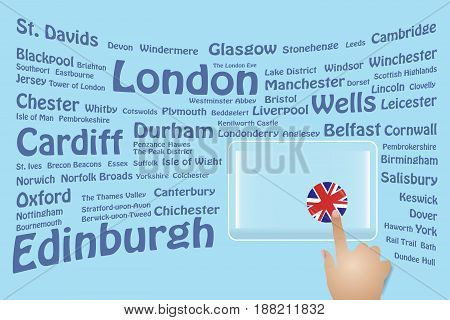 Hand is touching a round British flag on a transparent screen. The blue bent names of the Great Britain sights are in the background. Free place for your text is at the screen.