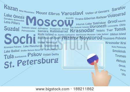 Hand is touching a round Russian flag on a transparent screen. The blue bent names of the Russia sights are in the background. Free place for your text is at the screen.