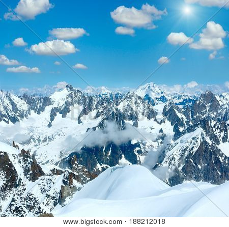 Mont Blanc Mountain Massif (sunshiny View From Aiguille Du Midi Mount,  France )