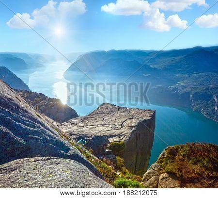 Sunshiny Preikestolen Massive Cliff Top (norway)