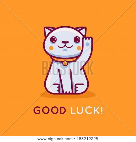 Vector Flat Linear Illustration And Logo Design Template - Maneki Neko Cat Wishing Good Luck