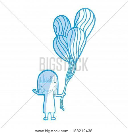siilhouette cute girl with balloons in the hand, vector illustration