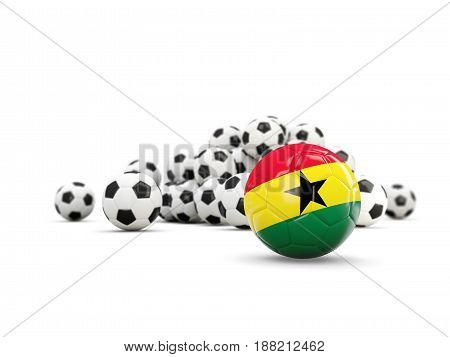 Football With Flag Of Ghana Isolated On White