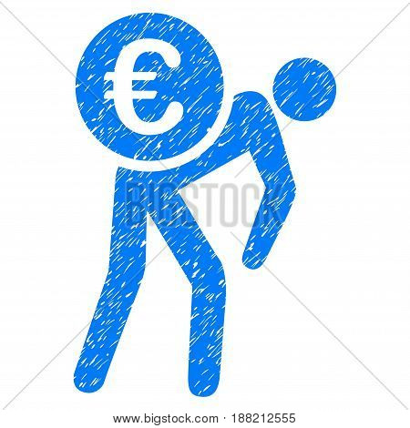 Grunge Euro Courier icon with grunge design and dust texture. Unclean vector blue pictogram for rubber seal stamp imitations and watermarks. Draft emblem symbol.