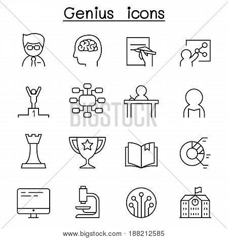 Genius Smart & Intelligent icon set in thin line style