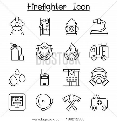 Fireman Fire Fighter Fire Station icon set in thin line