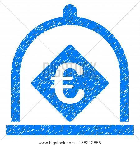 Grunge Euro Deposit icon with grunge design and scratched texture. Unclean vector blue pictogram for rubber seal stamp imitations and watermarks. Draft sign symbol.