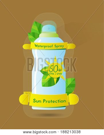 Sunblock waterproof spray can high protection spf 50 color vector illustration